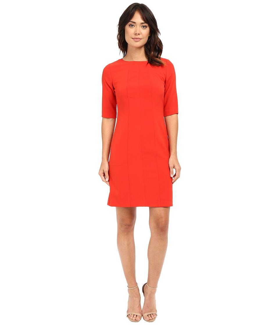 Tahari by ASL - Seamed Sheath w/ Elbow Length Sleeves (Red Pepper) Women's Dress