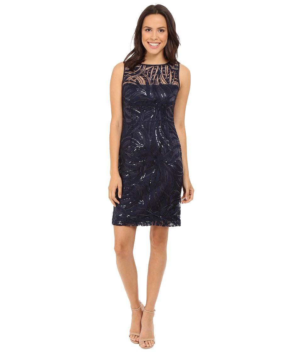 Tahari by ASL - Sequin Embroidery Illusion Neck (Navy) Women's Dress