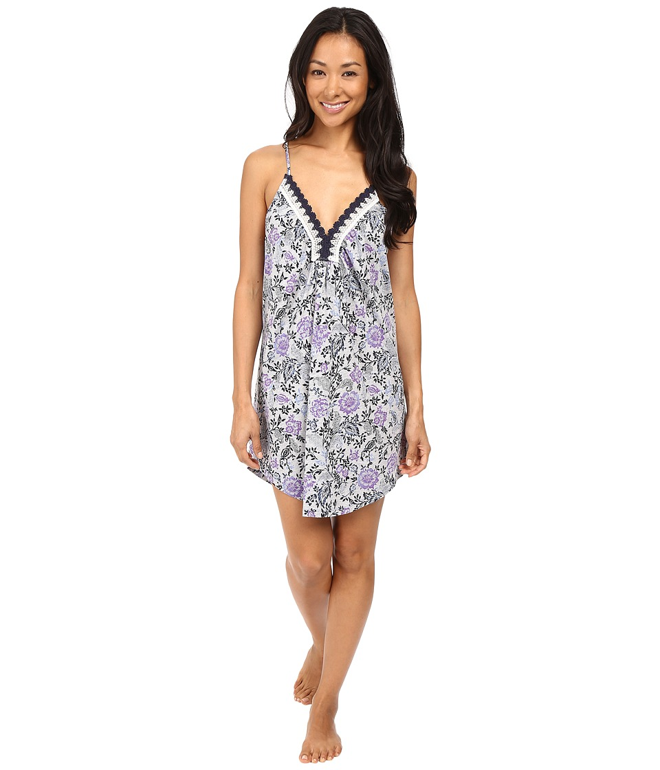 Lucky Brand - Crochet Lace Chemise (Grey Heather Floral) Women's Pajama