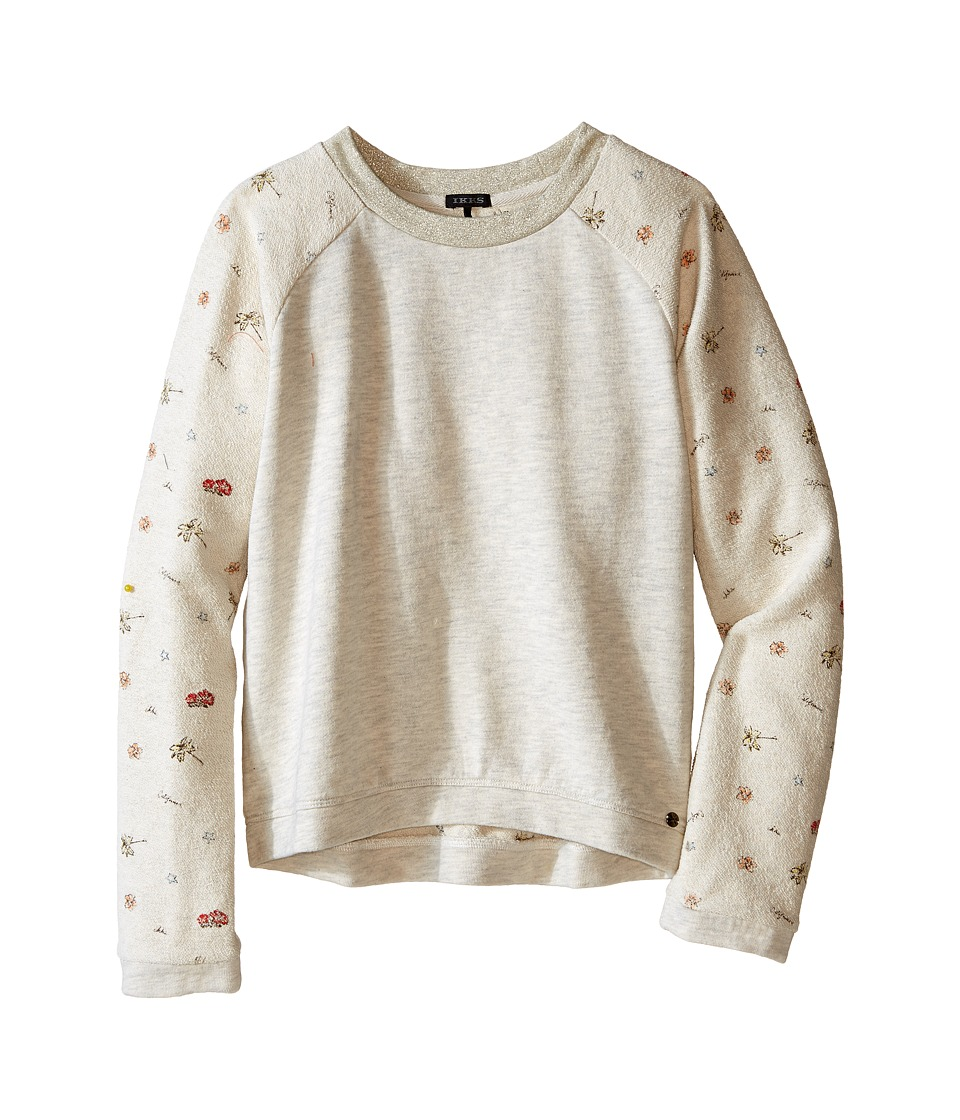 IKKS - Knit Pullover Sweatshirt with Printed Sleeves Sequined K Patch on Chest (Little Kids/Big Kids) (Beige Clair Chine) Girl's Sweatshirt