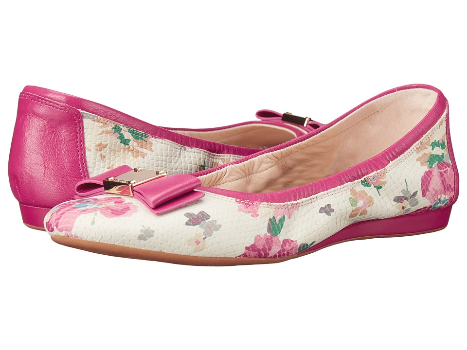 Cole Haan - Tali Bow Ballet (Pink Floral Snake Print) Women's Slip on Shoes