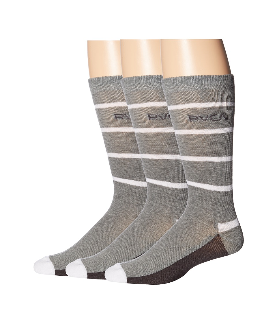 RVCA - Lobron Socks (Heather Grey) Men's Crew Cut Socks Shoes