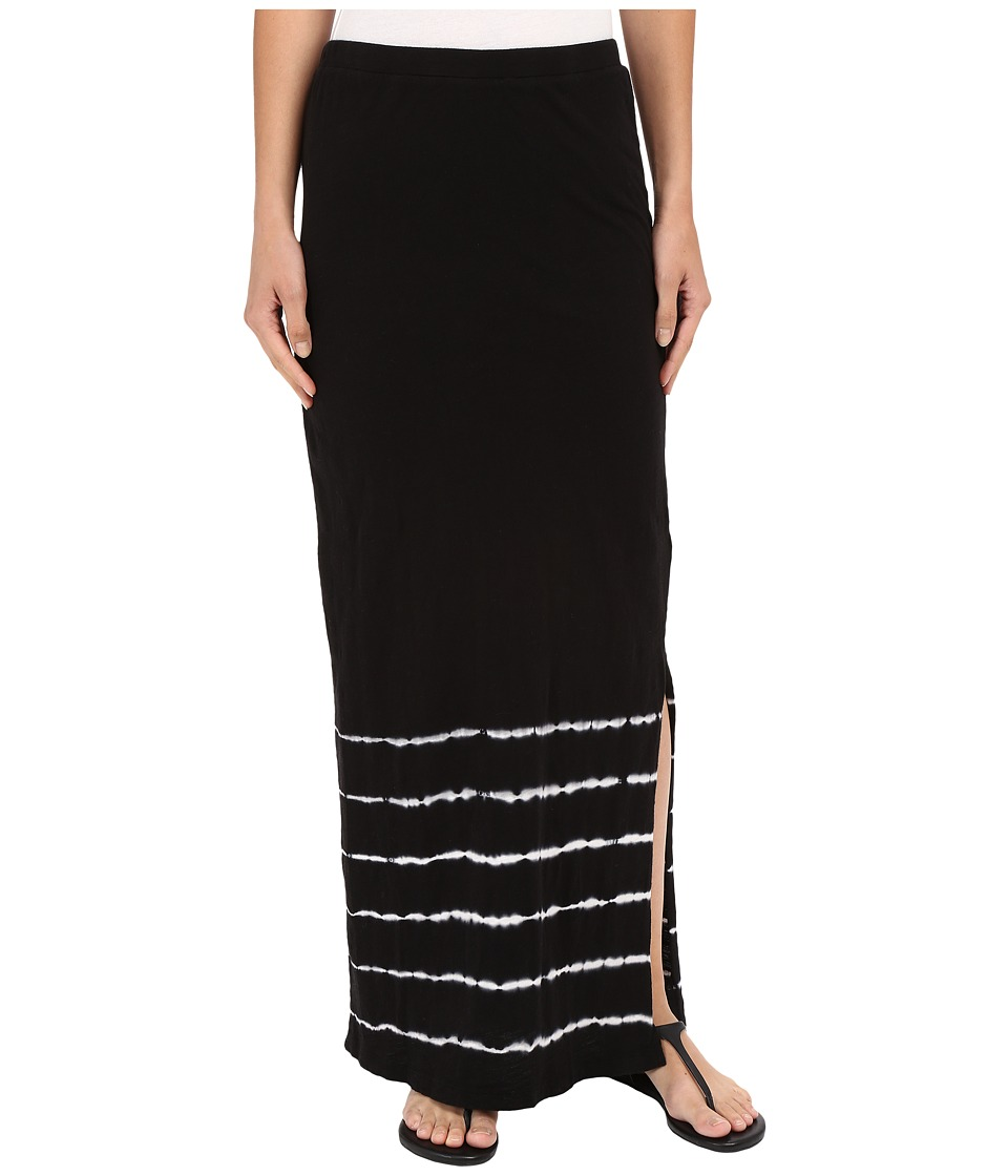 Mod-o-doc - Slub Jersey Tie-Dye Stripe Straight Skirt (Black) Women's Skirt