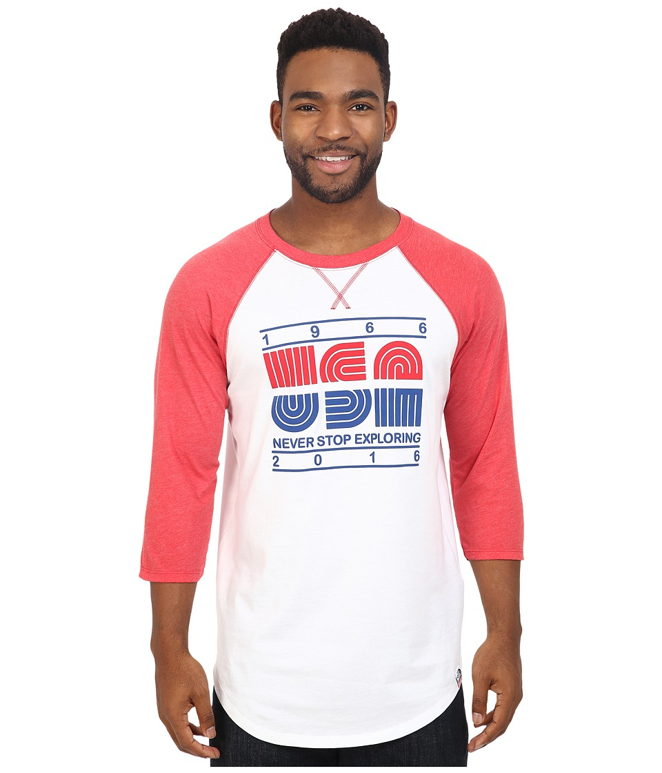 The North Face - 3/4 Sleeve USA Baseball Tee (TNF White/TNF Red Heather) Men's Clothing