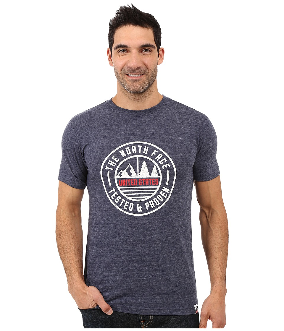 The North Face - Short Sleeve USA Tri-Blend Tee (Cosmic Blue Heather) Men's Clothing