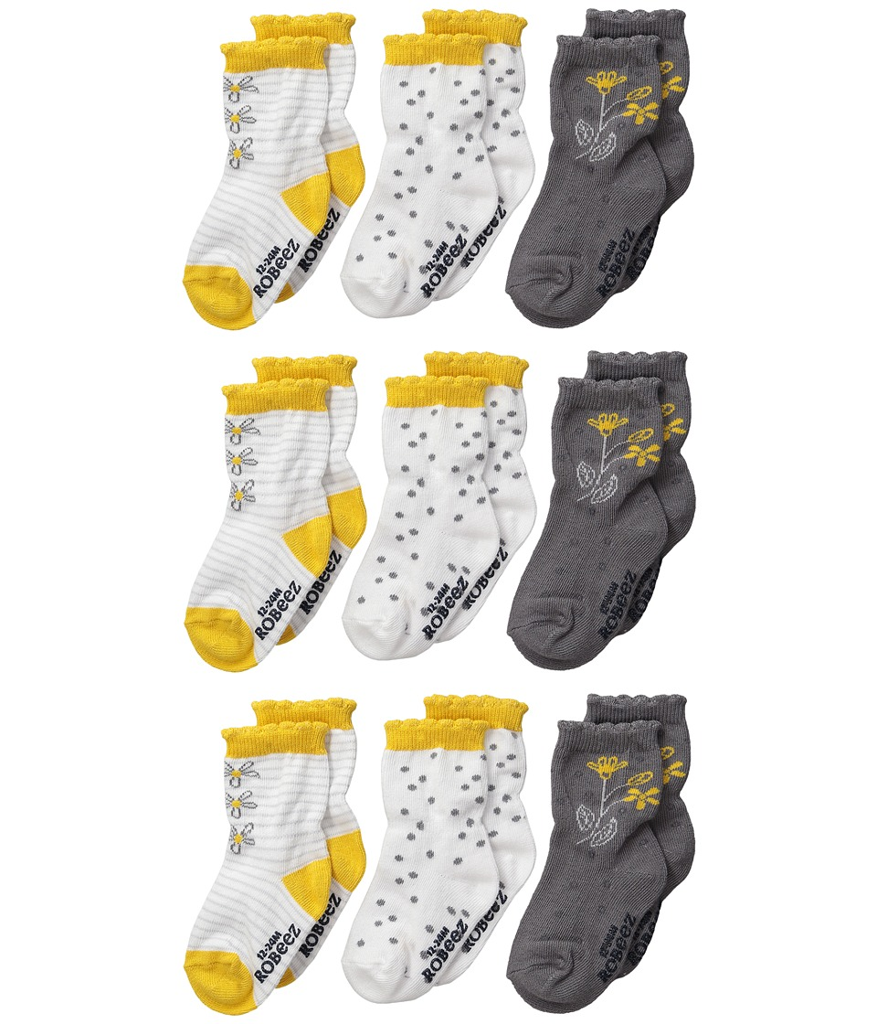 Robeez - 9-Pack In The Garden (Infant) (Yellow) Girls Shoes