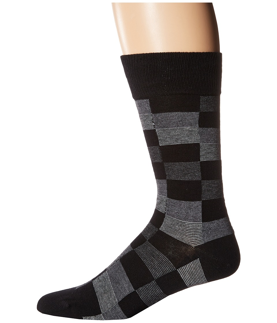 BOSS Hugo Boss - Color Check (Black) Men's Crew Cut Socks Shoes