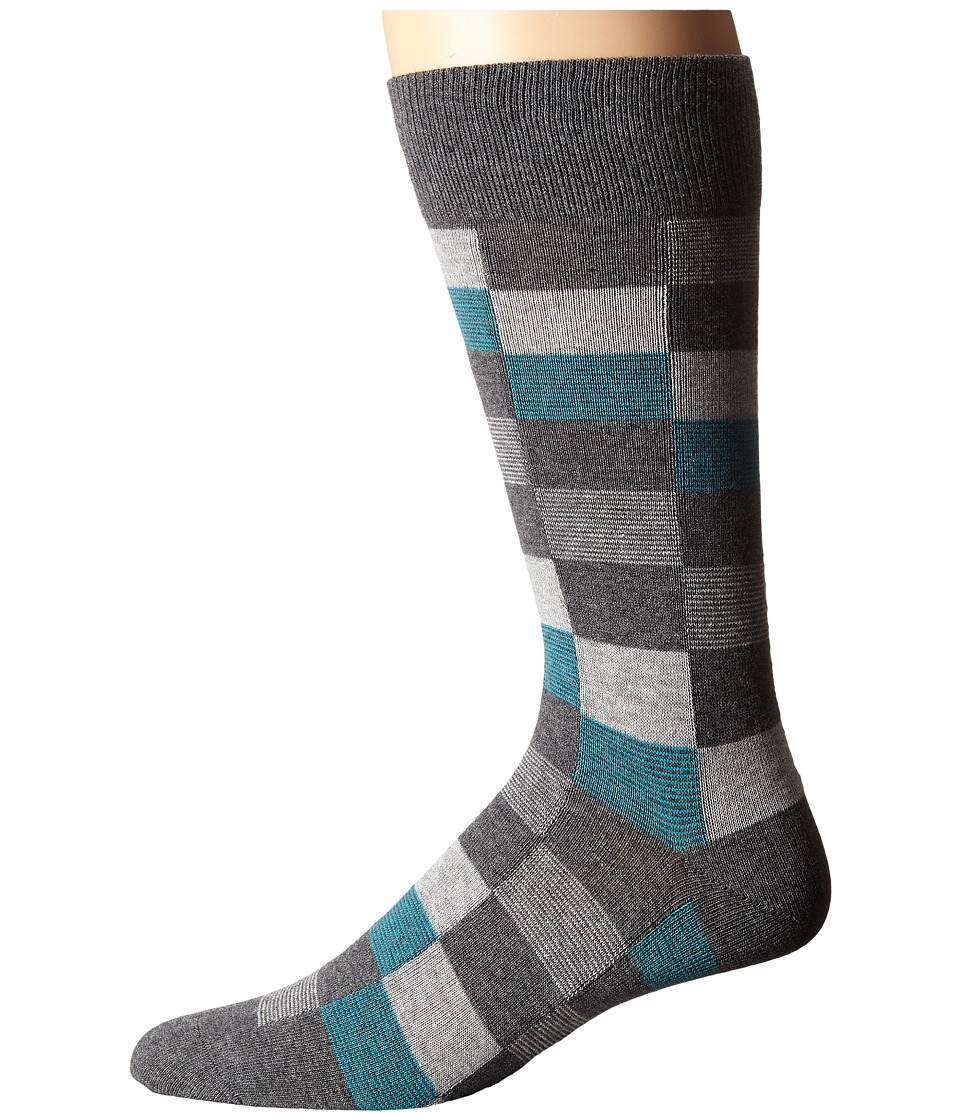 BOSS Hugo Boss - Color Check (Medium Grey) Men's Crew Cut Socks Shoes