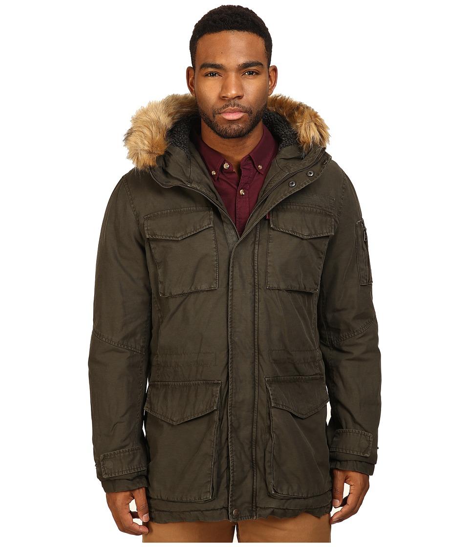 Levi's(r) - Long Hooded Parka w/ Fur Trim (Olive) Men's Coat