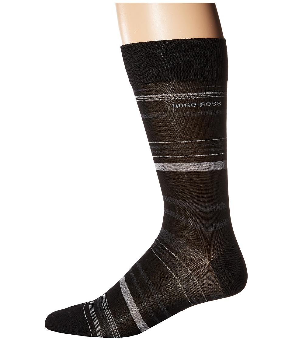 BOSS Hugo Boss - Mercerized Stripe (Black) Men's Crew Cut Socks Shoes