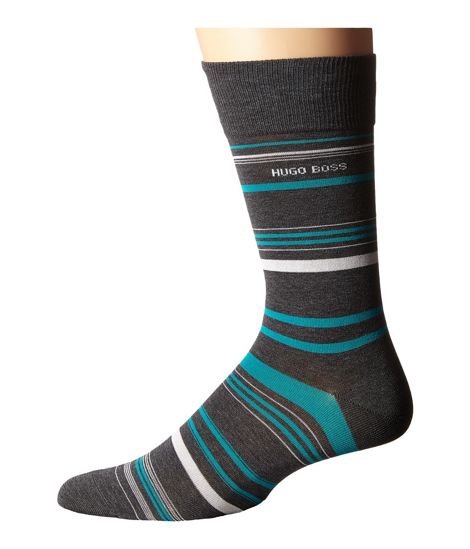 BOSS Hugo Boss - Mercerized Stripe (Medium Grey) Men's Crew Cut Socks Shoes