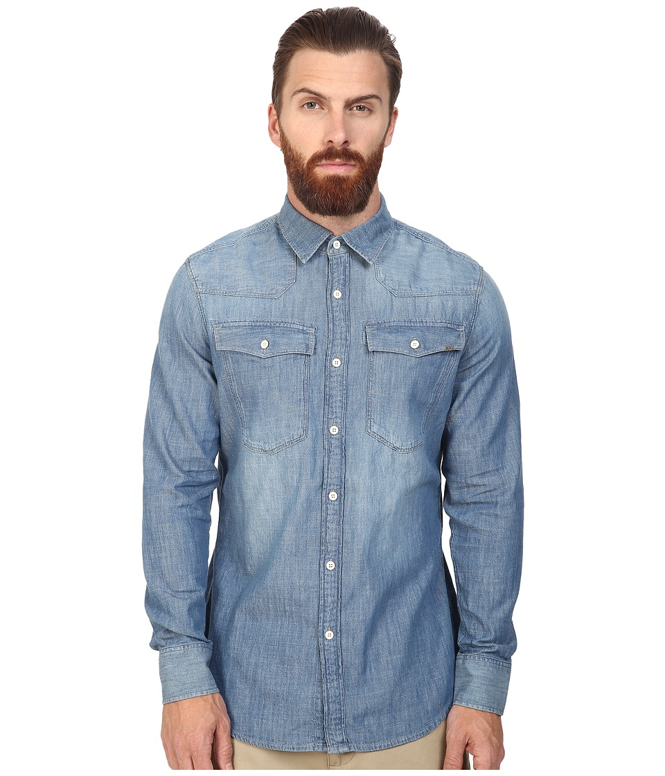 G-Star - 3301 Long Sleeve Shirt in Lightweight Boll Denim (Light Aged) Men's Long Sleeve Button Up