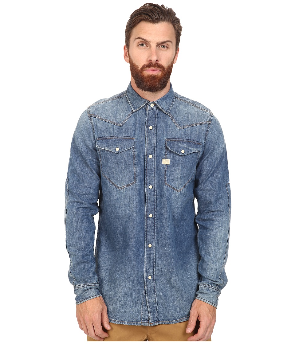 G-Star - Tacoma Long Sleeve Shirt in Lightweight Craser Denim (Vintage Medium Aged) Men's Clothing