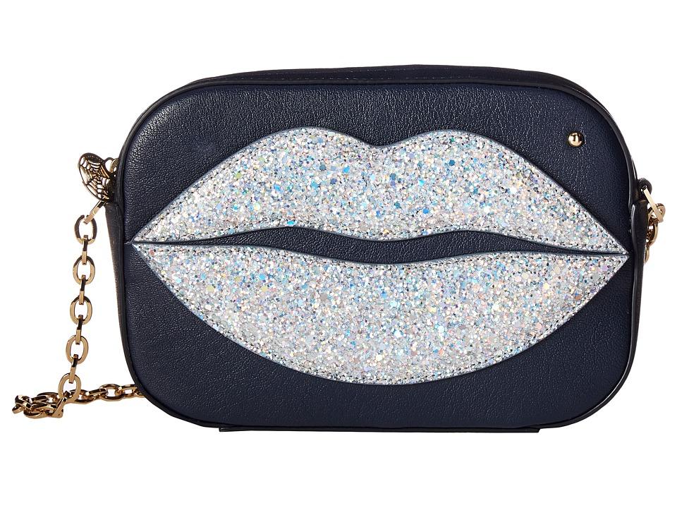 Charlotte Olympia - Pouty Shoulder Purse (Night Sky Blue Goatskin/Glitter) Wallet Handbags