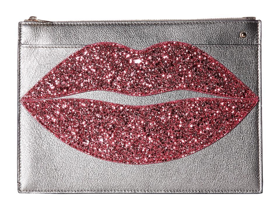 Charlotte Olympia - Pouty Clutch (Silver/Rose Quartz Metallic Goatskin/Glitter) Clutch Handbags