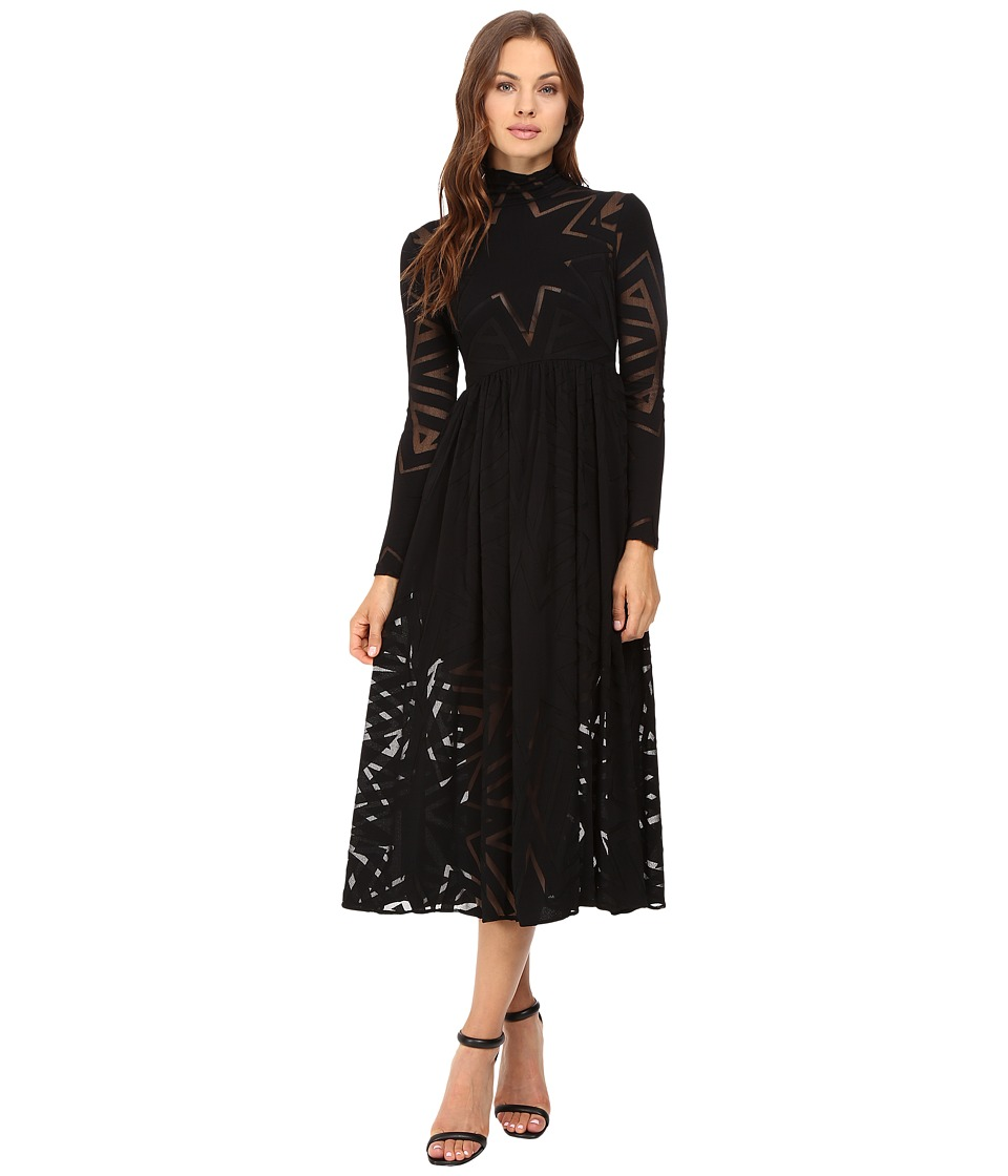 Mara Hoffman Compass Burnout Midi Dress (Black) Women