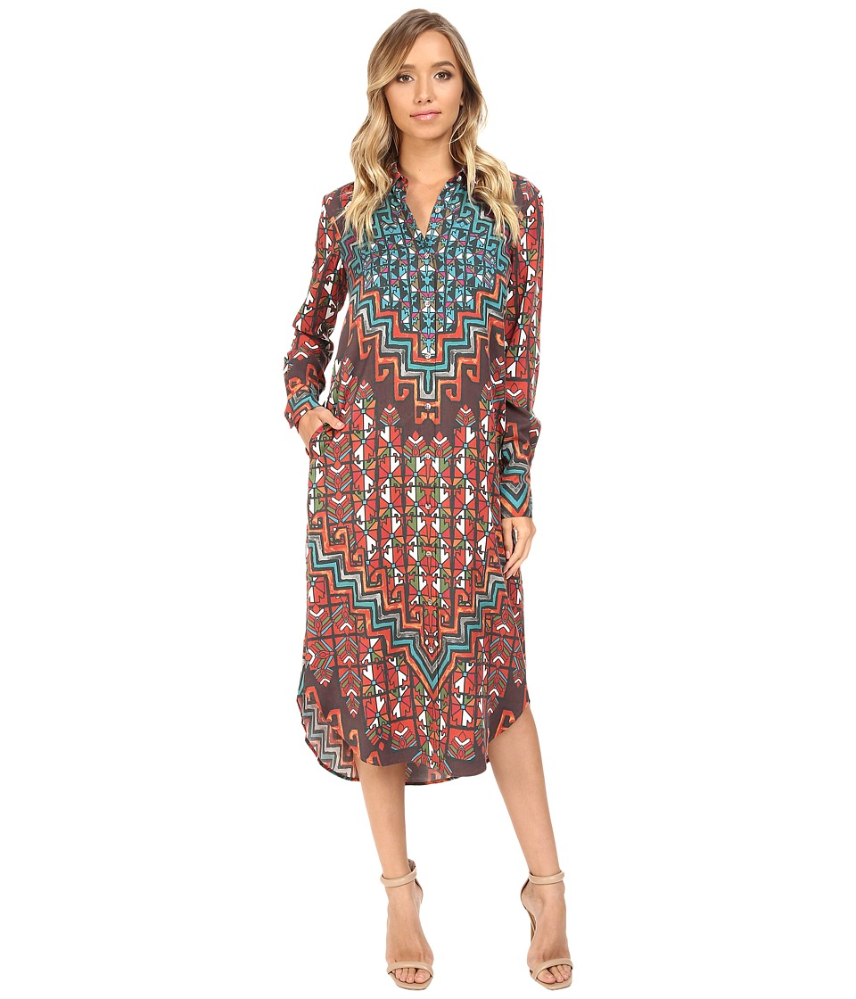 Mara Hoffman - Rug Tencel Shirtdress (Orange Multi) Women's Dress