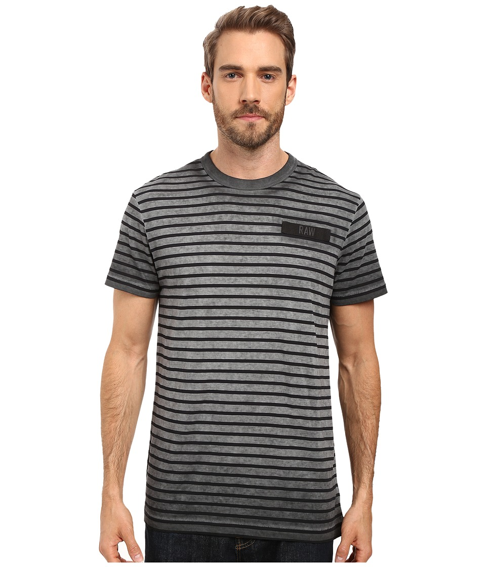 G-Star - Rancis Stripe Short Sleeve Tee in Lyon Jersey (Raven Overdye/Mazarine Blue ST) Men's T Shirt