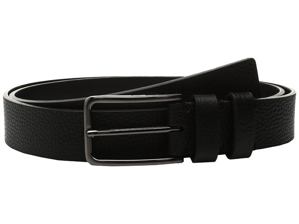 Calvin Klein - 35mm Large Grain Shrunken Leather Belt with Two Loops (Black) Men's Belts