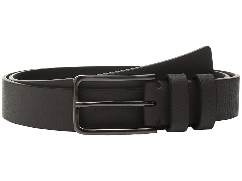 Calvin Klein - 35mm Large Grain Shrunken Leather Belt with Two Loops (Grey) Men's Belts