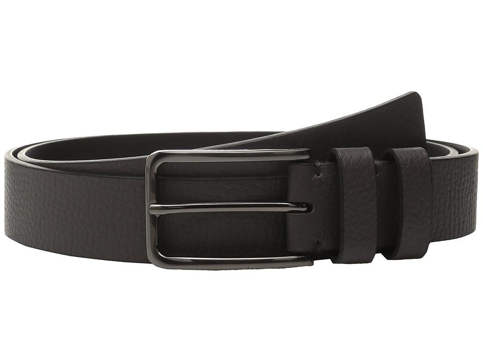 Calvin Klein - 35mm Large Grain Shrunken Leather Belt with Two Loops (Grey) Men's Belts