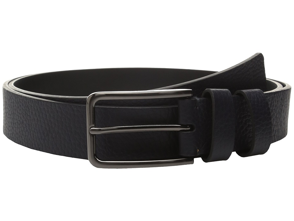 Calvin Klein - 35mm Large Grain Shrunken Leather Belt with Two Loops (Ink) Men's Belts