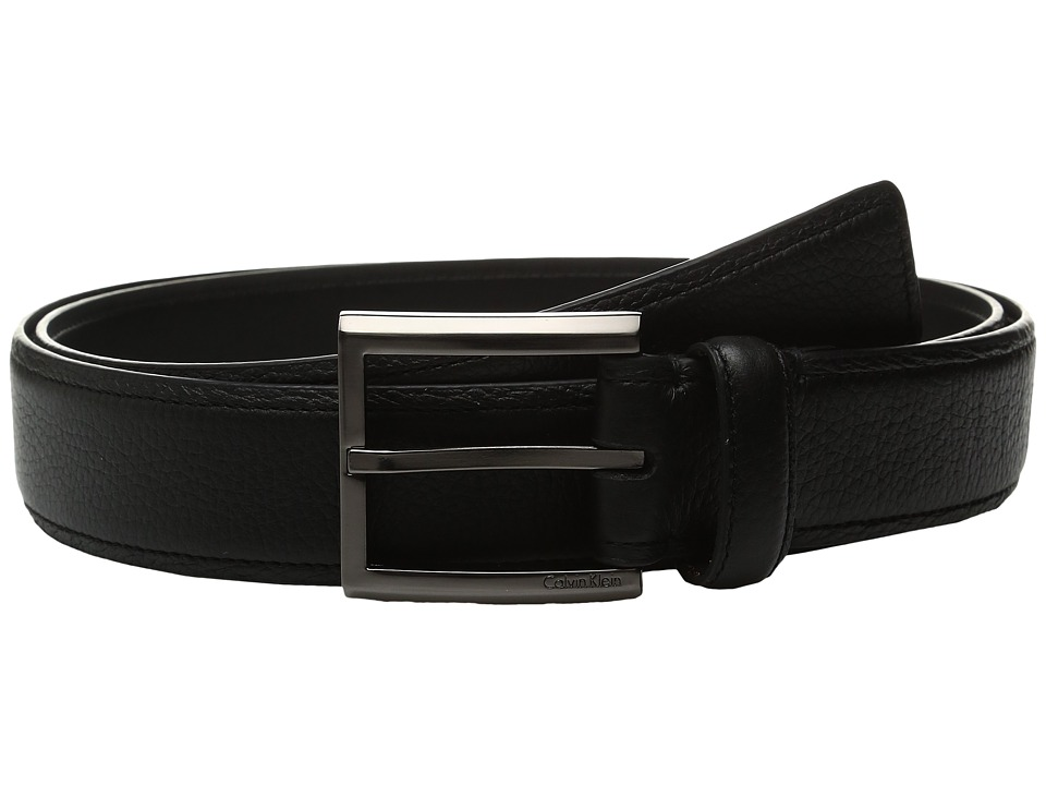 Calvin Klein - 35mm Feather Edge Belt with Stitched Edge (Black) Men's Belts