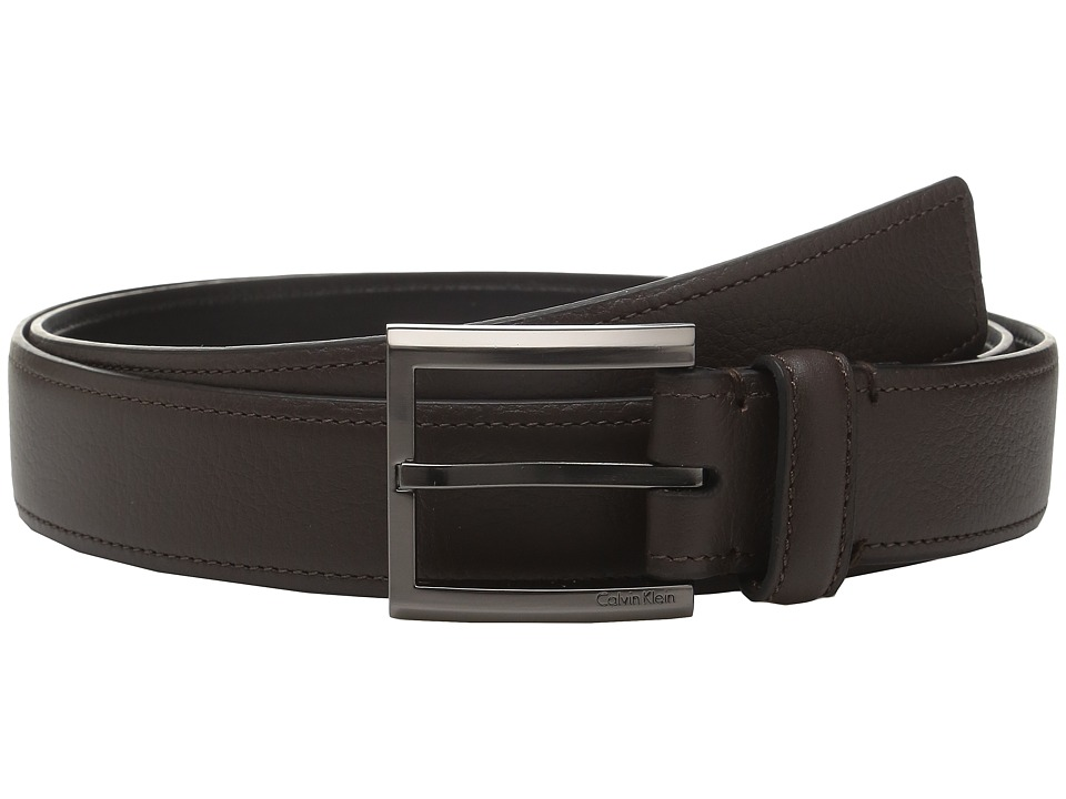 Calvin Klein - 35mm Feather Edge Belt with Stitched Edge (Brown) Men's Belts