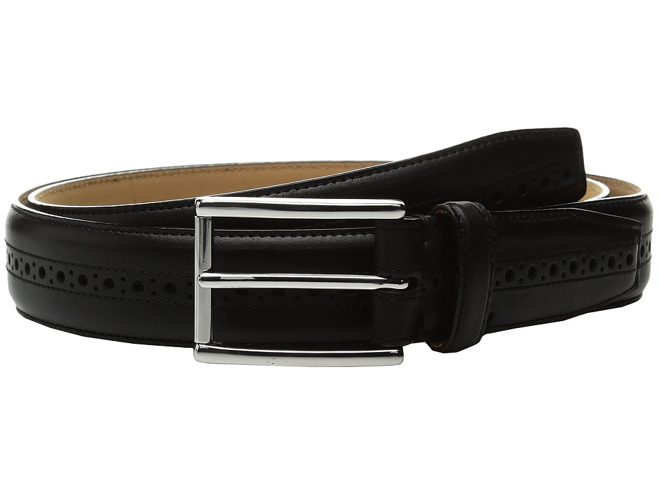 Cole Haan - 32mm Stitched Edge Belt with Perforated and Hand Burnished Detail (Black) Men's Belts