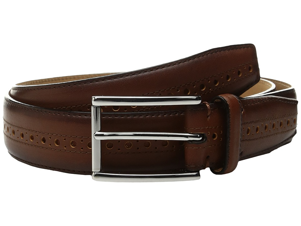 Cole Haan - 32mm Stitched Edge Belt with Perforated and Hand Burnished Detail (British Tan) Men's Belts