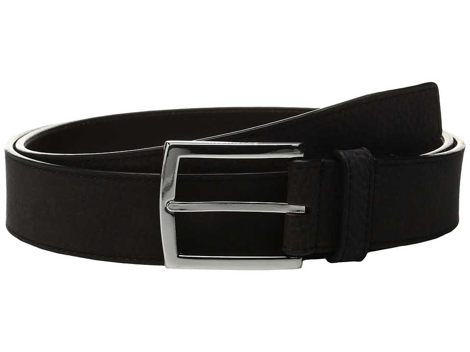 Cole Haan - 35mm Belt with Stitched Contrast Color Edge and Lining Detail (Black/Dark Roast) Men's Belts