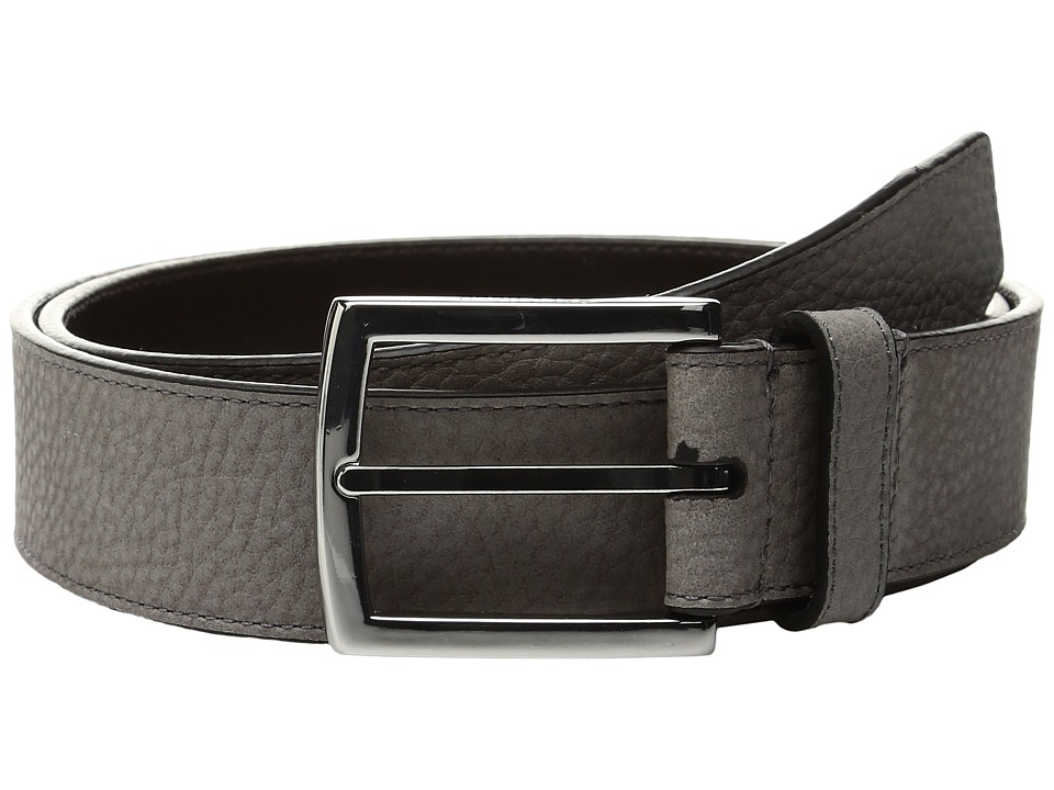 Cole Haan - 35mm Belt with Stitched Contrast Color Edge and Lining Detail (Grey/Dark Roast) Men's Belts