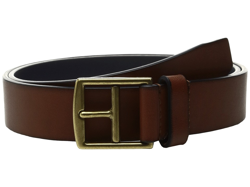 Cole Haan - 32mm Rounded Edge Belt with Contrast Color Lining and Edge Detail (Papaya/Rainstorm) Men's Belts