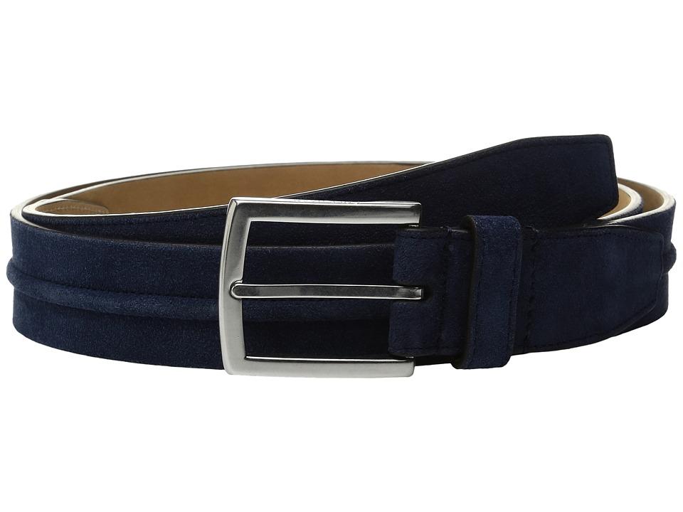 Cole Haan - 35mm Suede Belt with Filled Center Detail (Rainstorm) Men's Belts