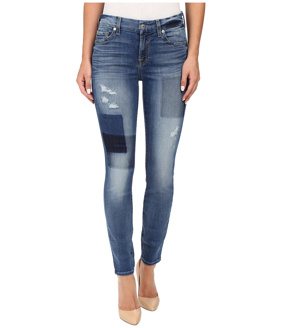 7 For All Mankind - Ankle Skinny w/ Clean Patches in Light Patched Denim (Light Patched Denim) Women's Jeans