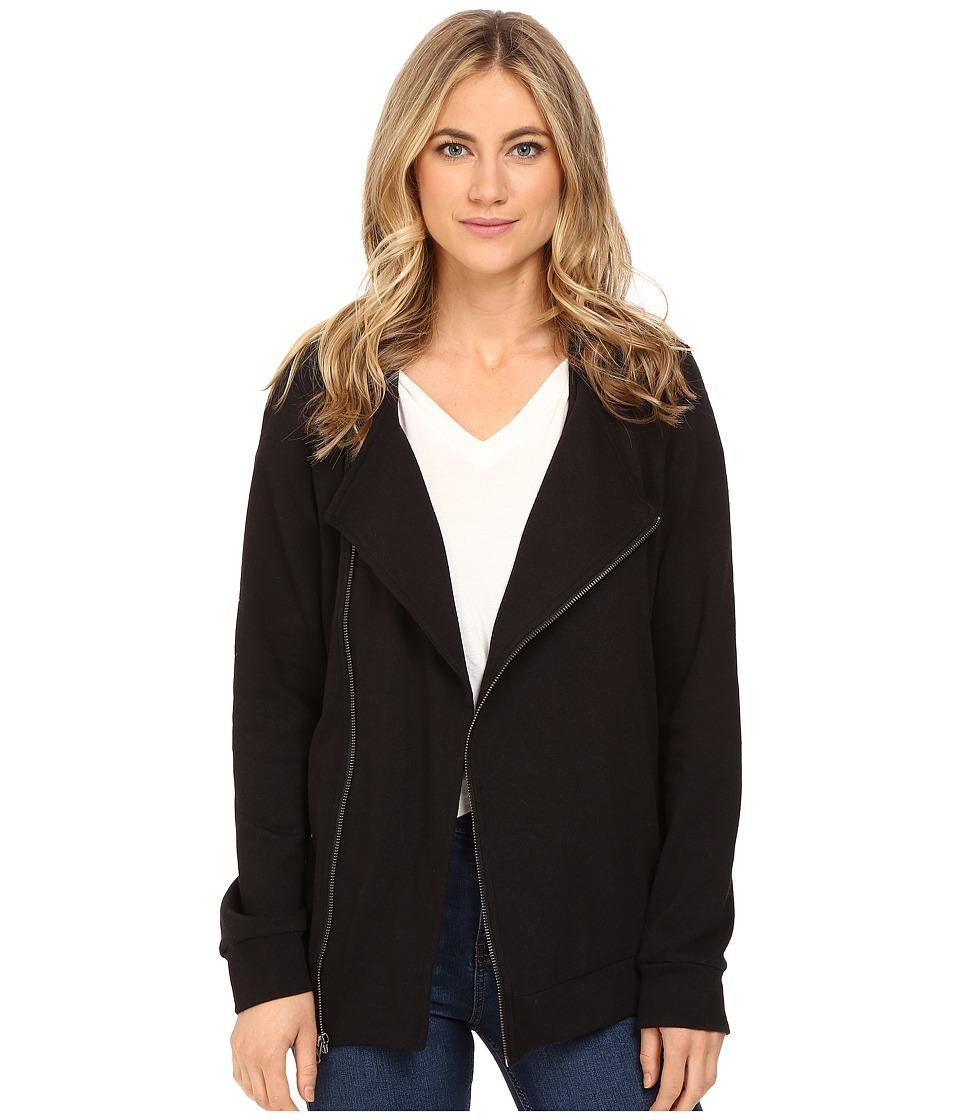 Lanston - Moto Hoodie Tunic (Black) Women's Sweatshirt