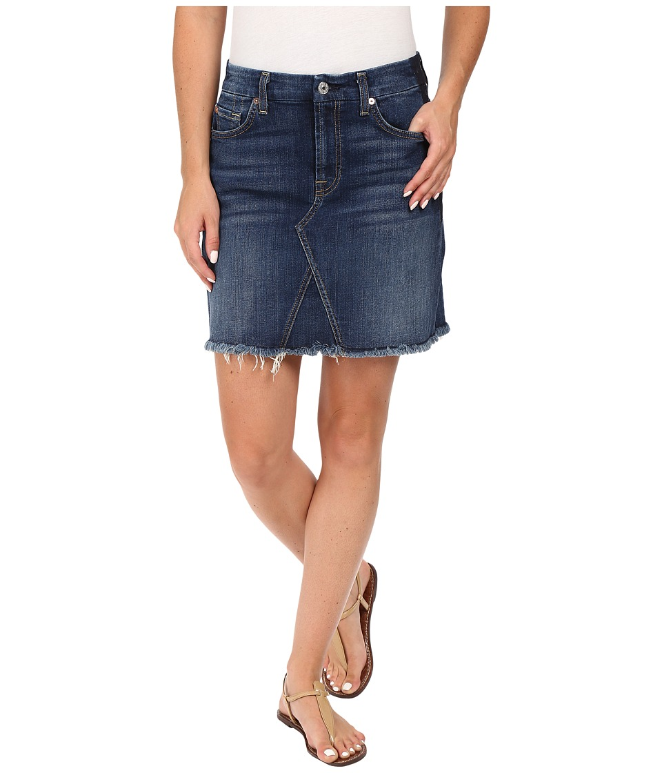 7 For All Mankind - A Line Skirt w/ Raw Hem Shadow Back Pockets in Medium Shadow Blue (Medium Shadow Blue) Women's Skirt