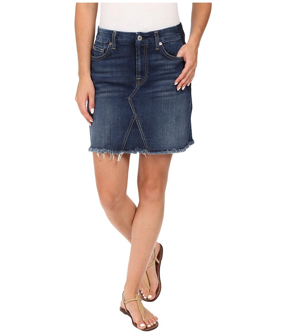 7 For All Mankind - A Line Skirt w/ Raw Hem Shadow Back Pockets in Medium Shadow Blue (Medium Shadow Blue) Women's Skirt