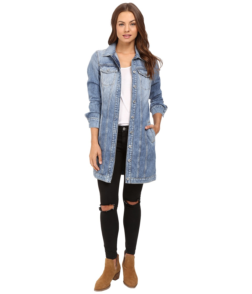 7 For All Mankind - Long Trucker Jacket in Light Brighton Blue (Light Brighton Blue) Women's Coat