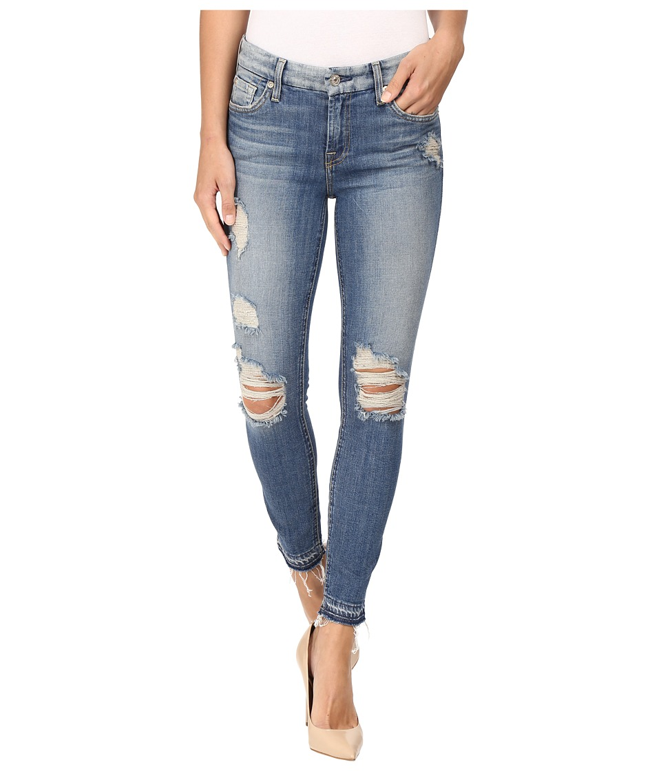 7 For All Mankind - The Ankle Skinny w/ Released Hem Destroy in Windsor Pink Tint (Windsor Pink Tint) Women's Jeans