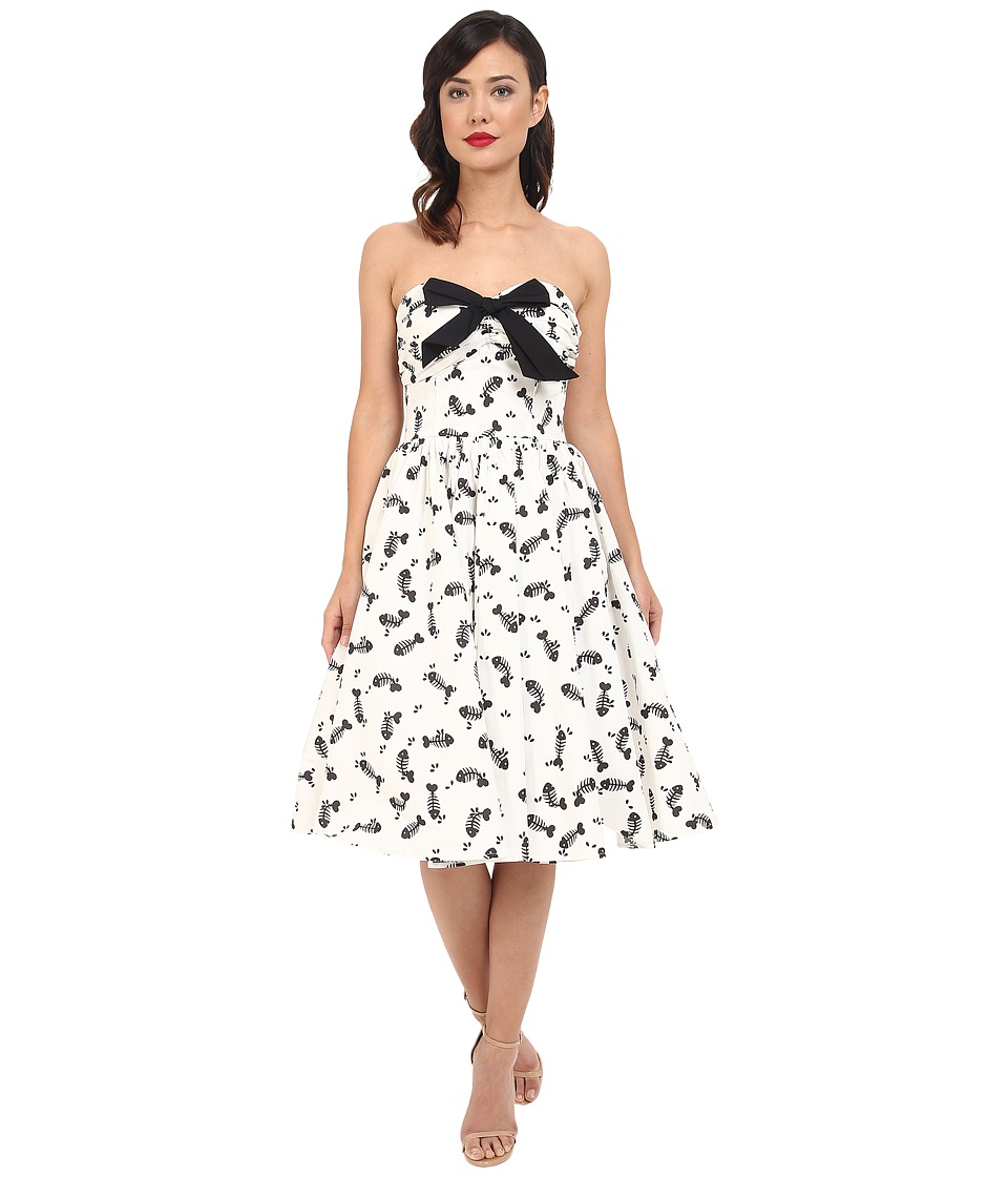 Unique Vintage - Fish Bone Fit n' Flare Dress (White/Black Print) Women's Dress plus size,  plus size fashion plus size appare
