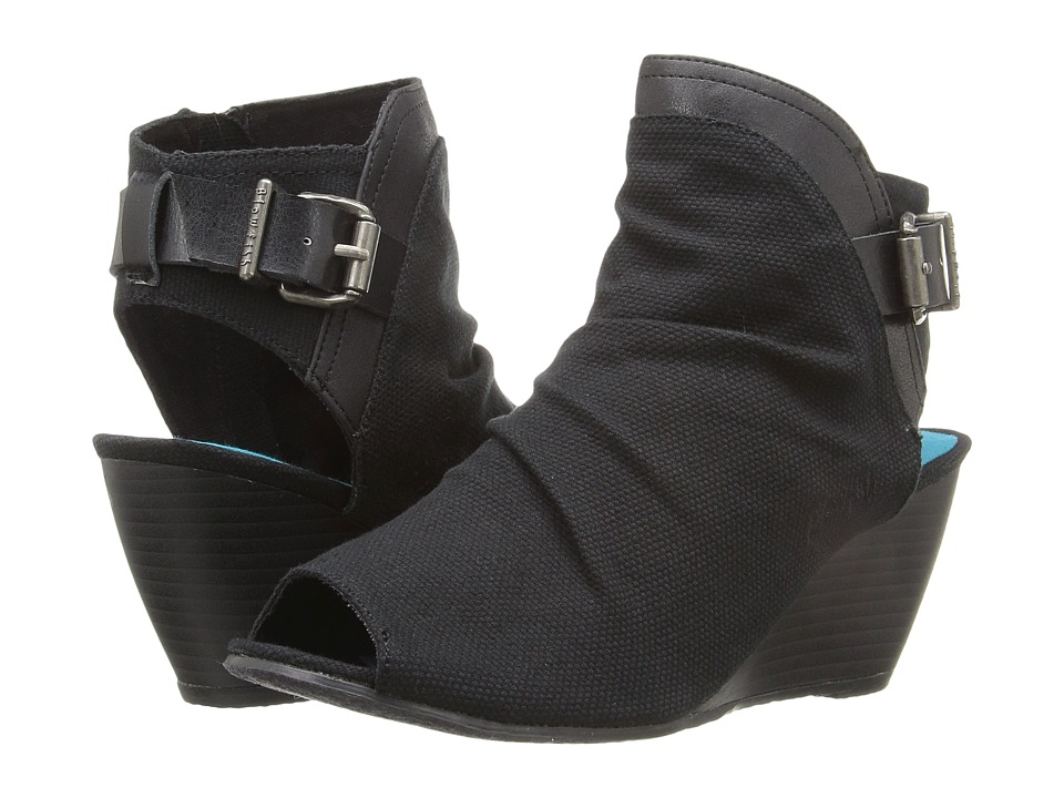 Blowfish - Bestie (Black Rancher Canvas/Black Asteroid/Black Dyecut PU) Women's Wedge Shoes