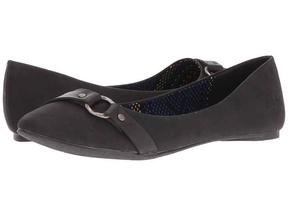 Blowfish - Nini (Black Texas PU/Dyecut PU) Women's Flat Shoes