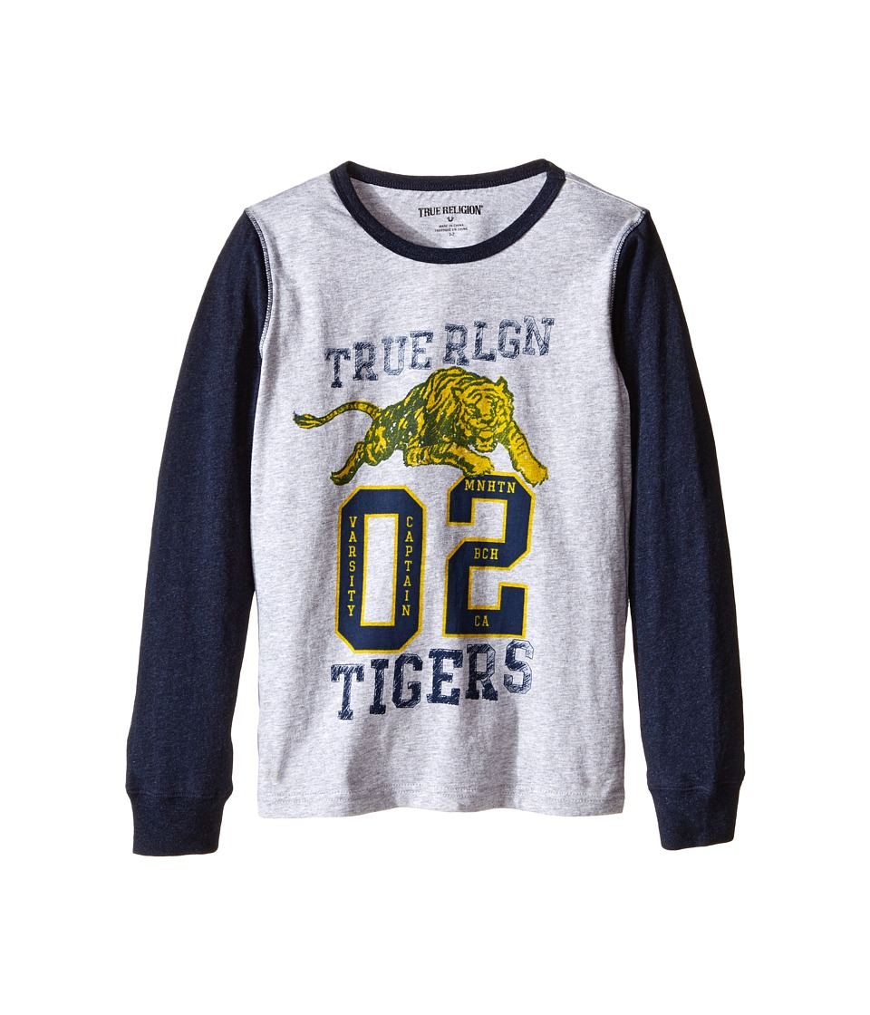 True Religion Kids Varsity Tiger Long Sleeve T-Shirt (Toddler/Little Kids) (Heather Grey) Boy