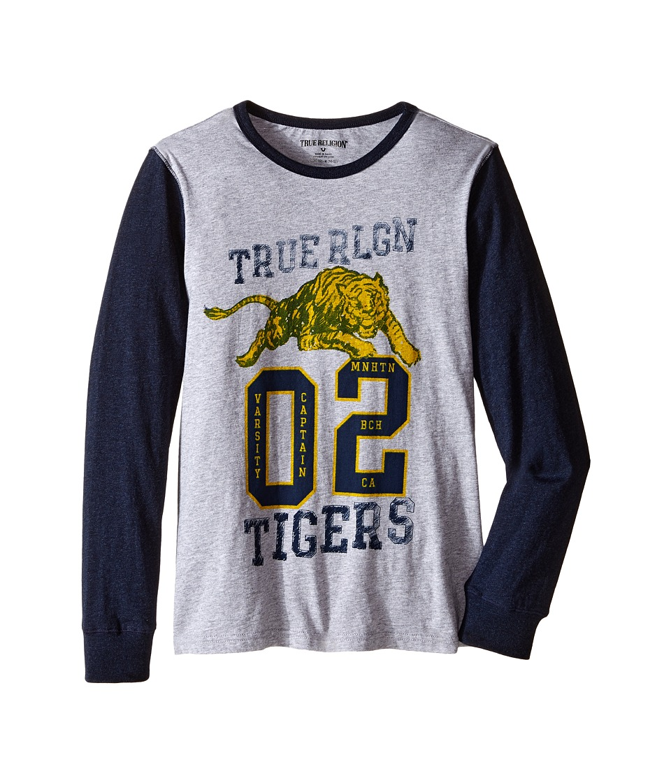 True Religion Kids - Varsity Tiger Long Sleeve T-Shirt (Big Kids) (Heather Grey) Boy's T Shirt