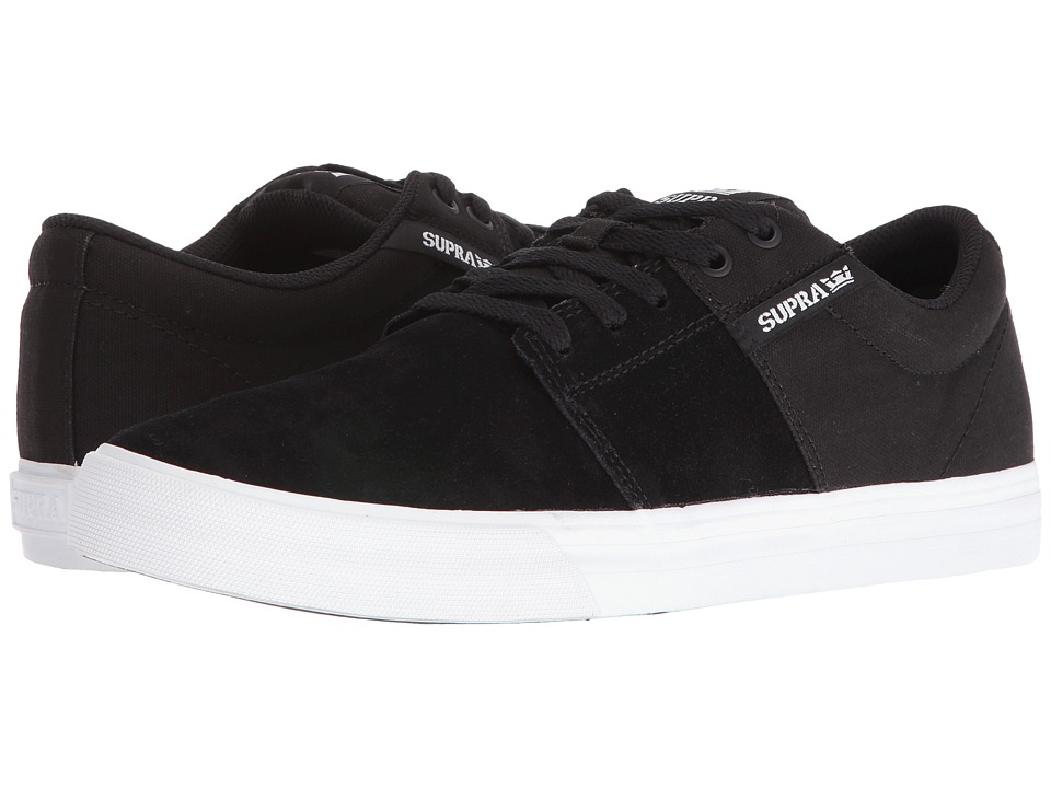 Supra - Stacks Vulc II (Black Suede/White) Men's Skate Shoes