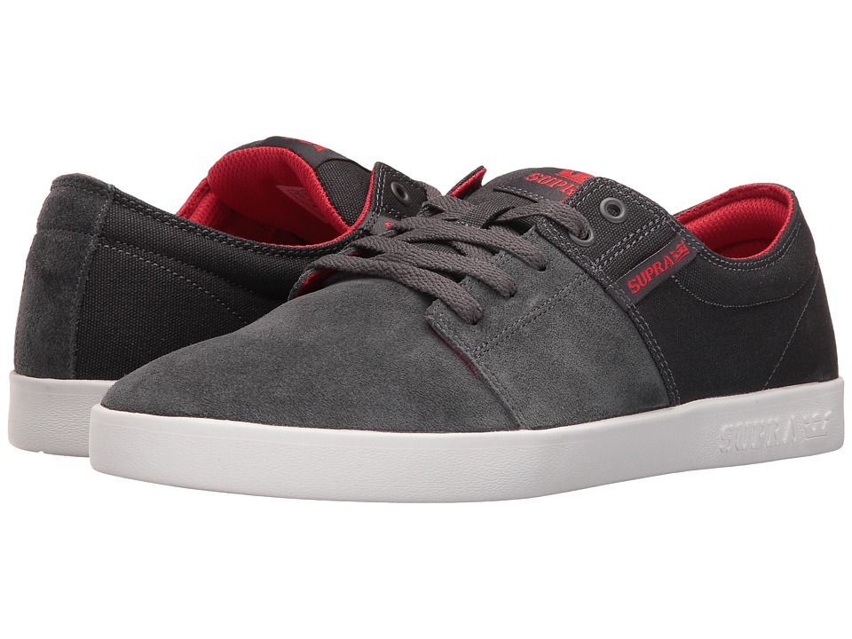 Supra - Stacks II (Dark Grey/Red/White) Men's Skate Shoes