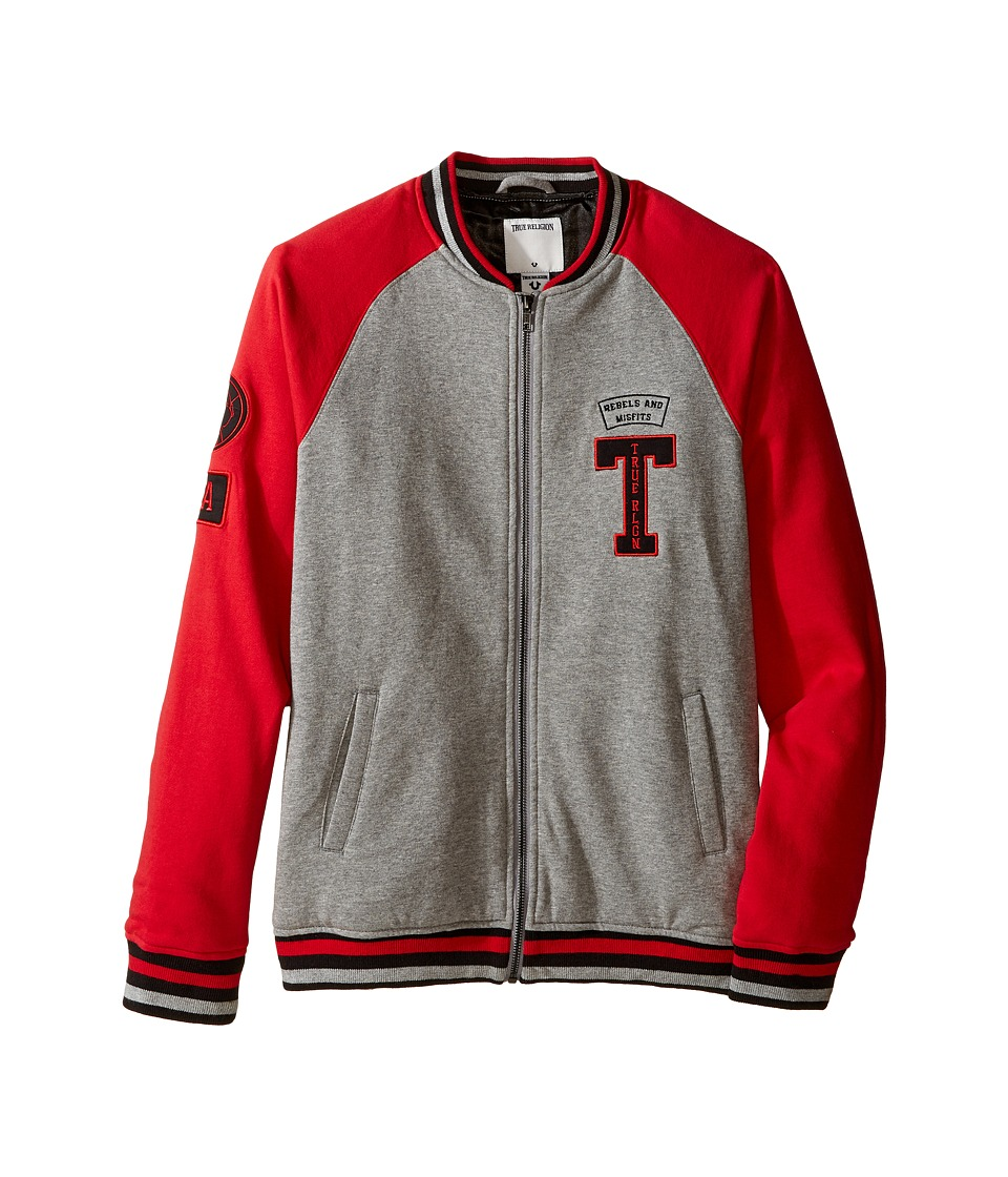 True Religion Kids - Fleece Letterman Jacket (Big Kids) (True Red) Boy's Coat