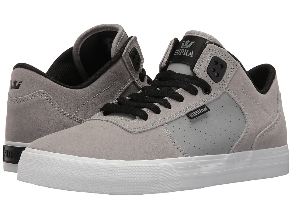 Supra - Ellington Vulc (Grey/Black Suede/White) Men's Skate Shoes