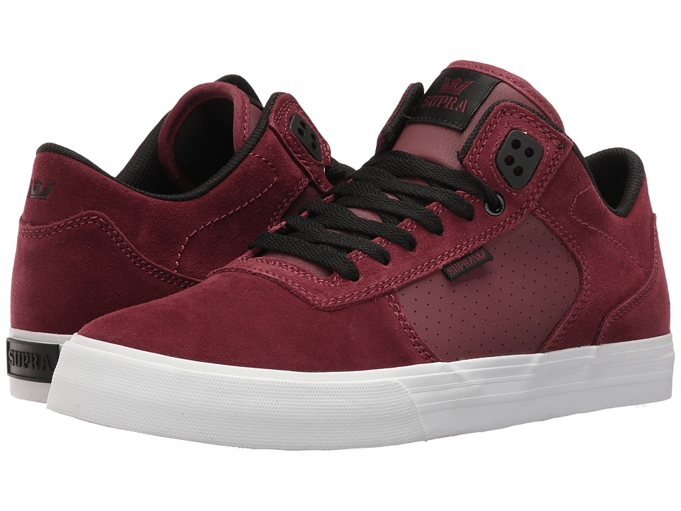 Supra - Ellington Vulc (Burgundy/Black Suede/White) Men's Skate Shoes